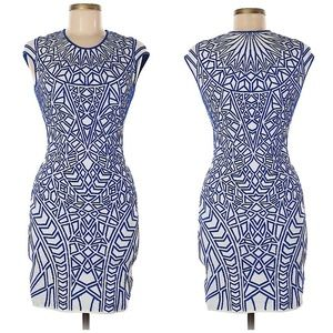 RVN Blue Abstract Print Bodycon Dress
